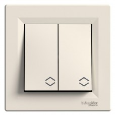 2-клавішний прохідний вимикач Schneider Electric Asfora Кремовий (EPH0600123)