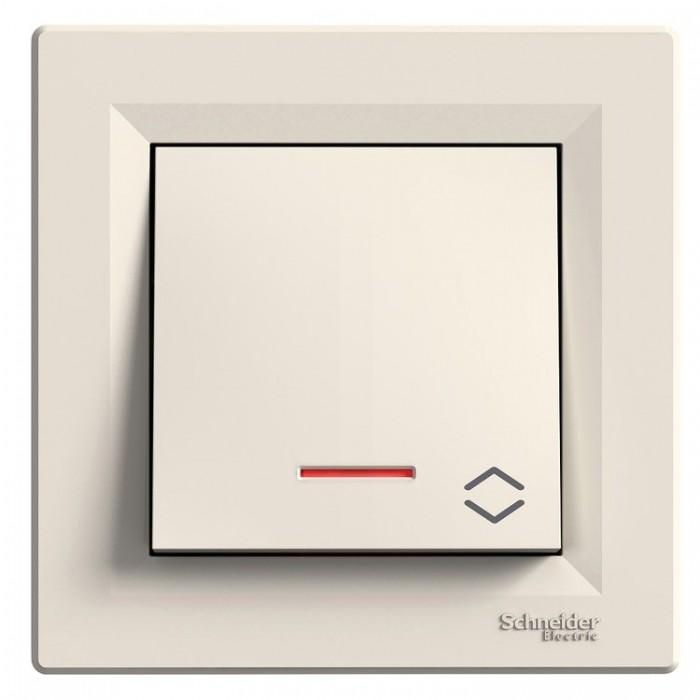 1-клавішний вимикач прохідний Schneider Asfora з підсвічуванням Кремовий (EPH1500123)