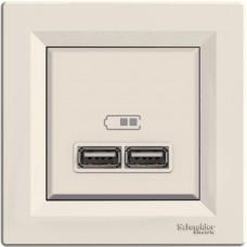 USB-розетка подвійна Schneider Electric Asfora Кремова (EPH2700223)