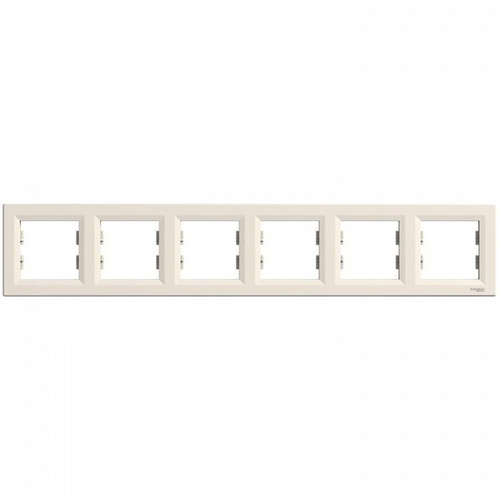 Рамка шестирна Schneider Electric Asfora горизонтальна Кремова (EPH5800623)