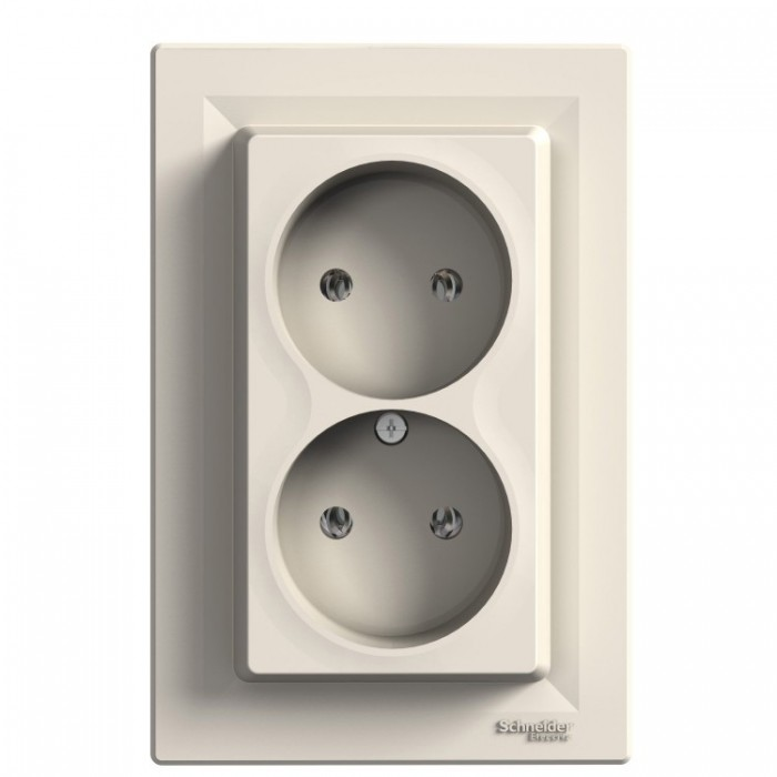 Розетка подвійна Schneider Electric Asfora без заземленням Кремова  (EPH9700123)