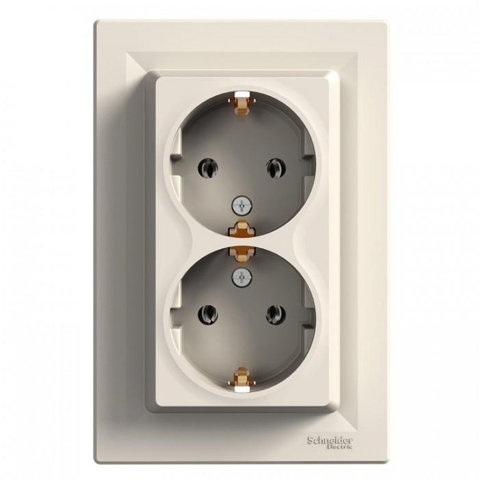 Розетка подвійна Schneider Electric Asfora із заземленням Кремова (EPH9900123)