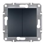 2-клавішний вимикач Schneider Electric Asfora 10A Антрацит (EPH0300171)