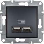 USB-розетка подвійна Schneider Electric Asfora Антрацит (EPH2700271)
