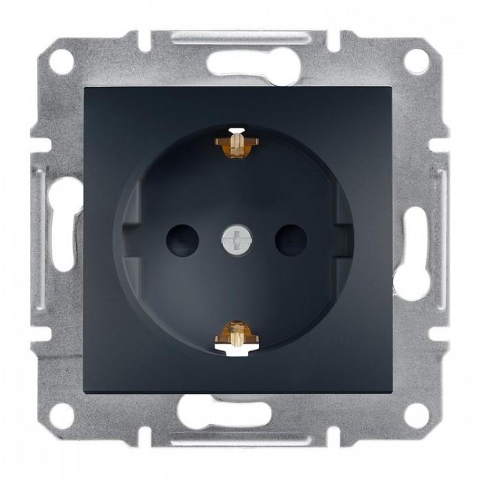 Розетка Schneider Electric Asfora із заземленням Антрацит (EPH2900171)