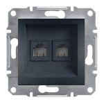 Комп'ютерна розетка подвійна Schneider Electric Asfora Антрацит (EPH 4400171)