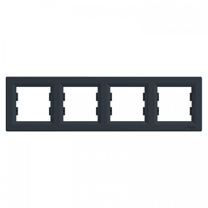 Рамка чотирна Schneider Electric Asfora горизонтальна Антрацит (EPH5800471)