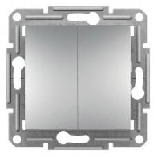 2-клавішний прохідний вимикач Schneider Electric Asfora Алюміній (EPH0600161)