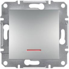 1-клавішний вимикач Schneider Electric Asfora із підсвічуванням Алюміній (EPH1400161)