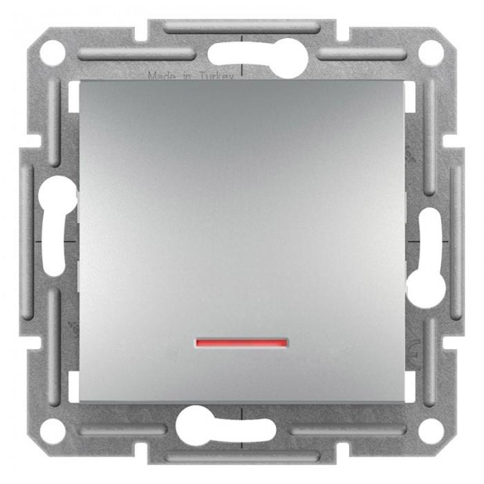 1-клавішний прохідний вимикач Schneider Electric Asfora із підсвічуванням Алюміній (EPH1500161)
