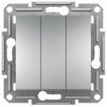 3-клавішний вимикач Schneider Electric Asfora Алюміній (EPH2100161)