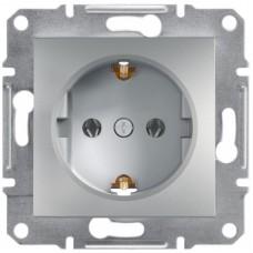 Розетка Schneider Electric Asfora із заземленням Алюміній (EPH2900161)