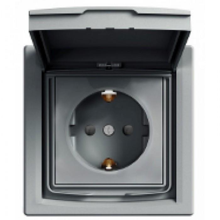 Розетка Schneider Electric Asfora із кришкою та шторками Алюміній IP44 (EPH3100361)