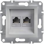 Комп'ютерна розетка подвійна кат. 5e Schneider Electric Asfora Алюміній (EPH4400161)