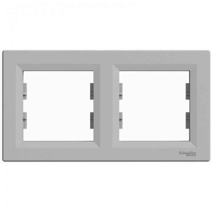 Рамка подвійна Schneider Electric Asfora горизонтальна Алюміній (EPH5800261)