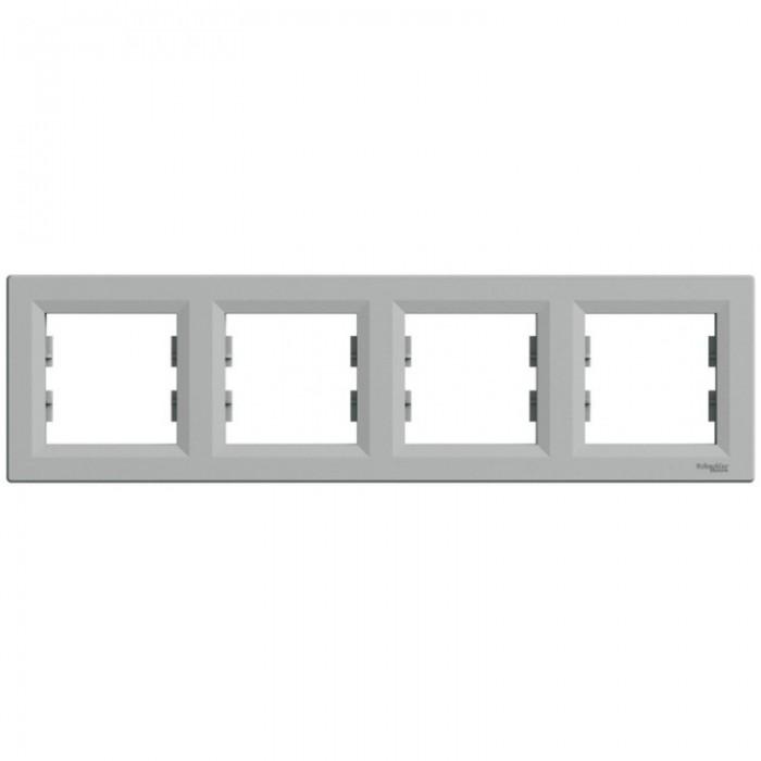 Рамка чотирна Schneider Electric Asfora горизонтальна Алюміній (EPH5800461)