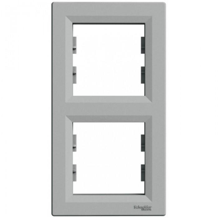Рамка подвійна Schneider Electric Asfora вертикальна Алюміній (EPH5810261)