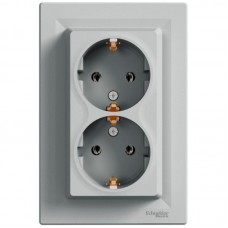 Розетка подвійна Schneider Electric Asfora із заземленням Алюміній (EPH9900161)