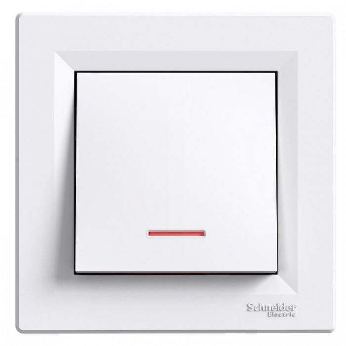 1-клавішний вимикач Schneider Electric Asfora з підсвіткою Білий (EPH1400121)