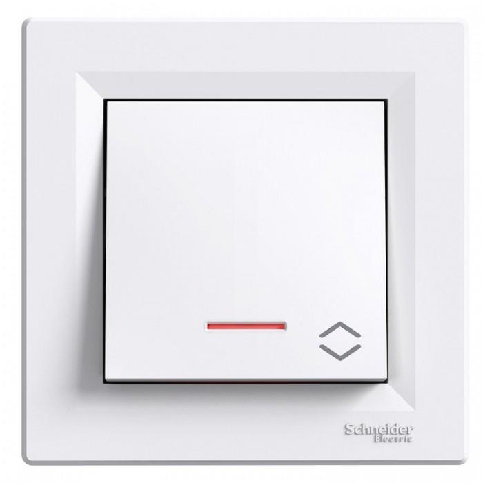 1-клавішний вимикач прохідний Schneider Asfora з підсвічуванням Білий (EPH1500121)