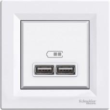 USB-розетка подвійна Schneider Electric Asfora Білий (EPH2700221)