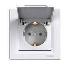 Розетка Schneider Electric Asfora із заземленням і кришкою Біла (EPH3100121)