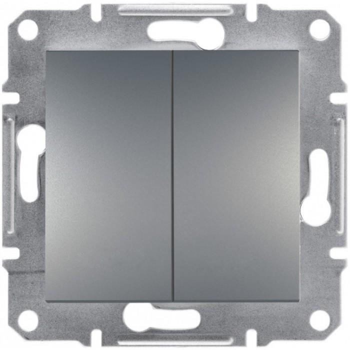 2-клавішний вимикач Schneider Electric Asfora Сталь (EPH0300162)