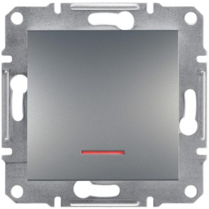1-клавішний вимикач Schneider Electric Asfora із підсвічуванням Сталь (EPH1400162)