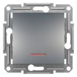 1-клавішний прохідний вимикач Schneider Electric Asfora із підсвічуванням Сталь (EPH1500162)