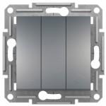 3-клавішний вимикач Schneider Electric Asfora Сталь (EPH2100162)