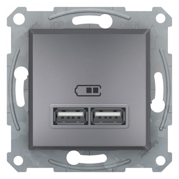 USB-розетка подвійна Schneider Electric Asfora Сталь (EPH2700262)
