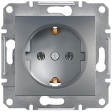 Розетка Schneider Electric Asfora із заземленням Сталь (EPH2900162)