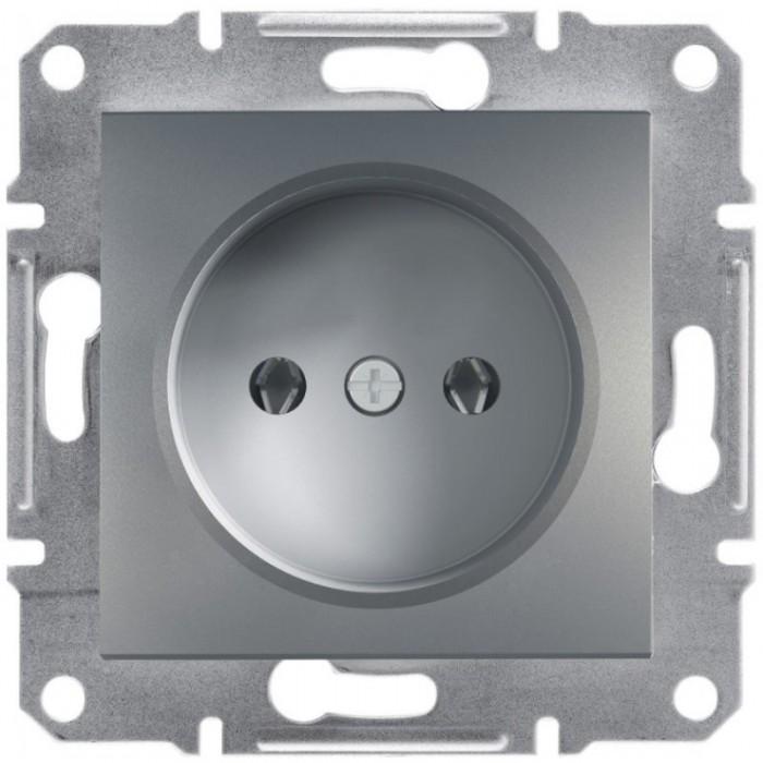 Розетка Schneider Electric Asfora без заземлення Сталь (EPH3000162)