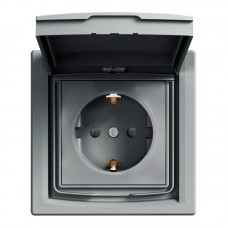 Розетка Schneider Electric Asfora із кришкою та шторками IP44 Сталь (EPH3100362)