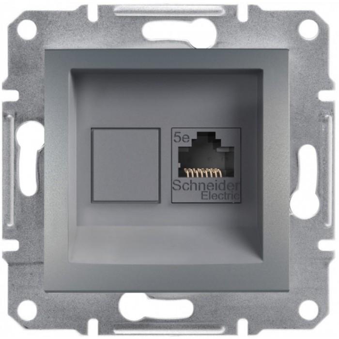 Комп'ютерна розетка кат. 5e Schneider Electric Asfora Сталь (EPH4300162)