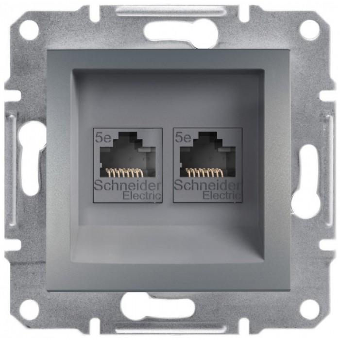 Комп'ютерна розетка подвійна кат. 5e Schneider Electric Asfora Сталь (EPH4400162)