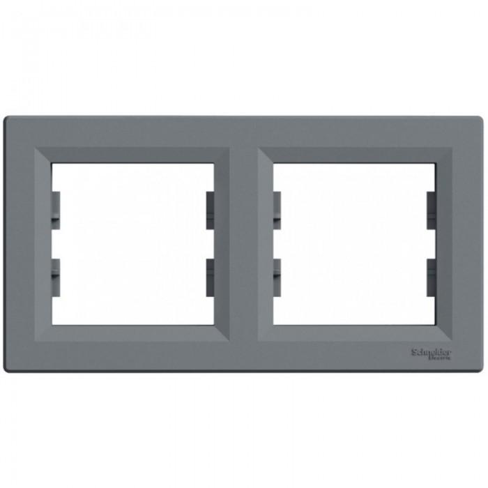 Рамка подвійна Schneider Electric Asfora горизонтальна Сталь (EPH5800262)