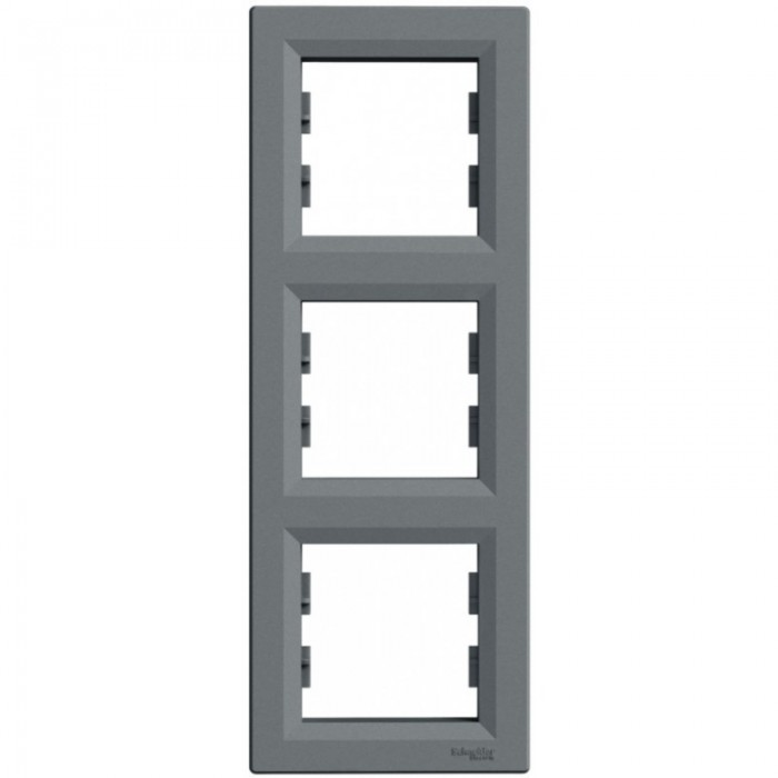 Рамка потрійна Schneider Electric Asfora вертикальна Сталь (EPH5810362)