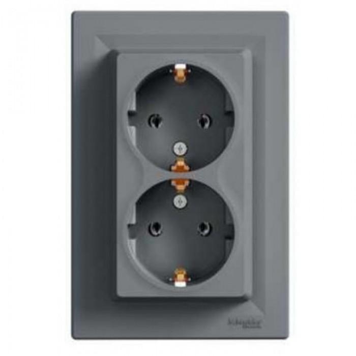 Розетка подвійна Schneider Electric Asfora із заземленням Сталь (EPH9900162)