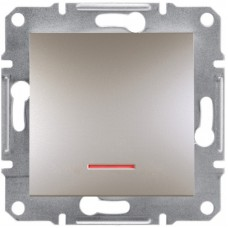 1-клавішний вимикач Schneider Electric Asfora із підсвічуванням Бронза (EPH1400169)