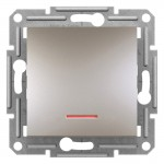 1-клавішний прохідний вимикач Schneider Electric Asfora із підсвічуванням Бронза (EPH1500169)