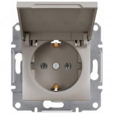 Розетка Schneider Electric Asfora із заземленням і кришкою Бронза (EPH3100169)