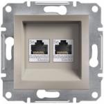 Комп'ютерна розетка подвійна кат. 5e Schneider Electric Asfora Бронза (EPH4400169)