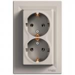 Розетка подвійна Schneider Electric Asfora із заземленням Бронза (EPH9900169)