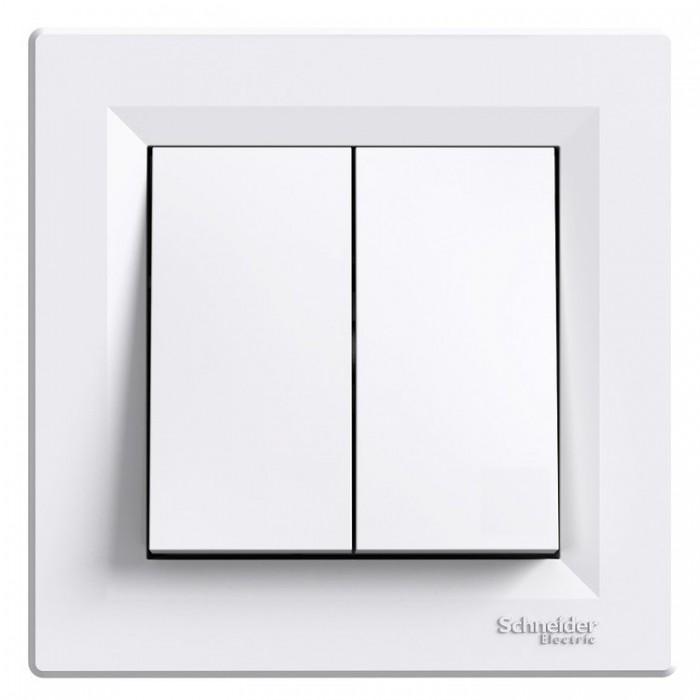 2-клавішний вимикач Schneider Electric Asfora 10A Білий (EPH0300121)
