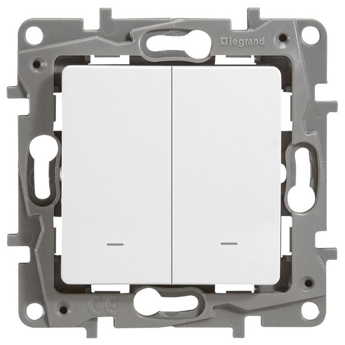 2-клавішний вимикач Legrand Etika із підсвічуванням Білий (672204)