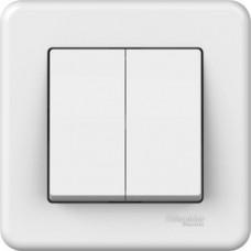2-клавішний вимикач Schneider Electric Leona Білий (LNA0300321)