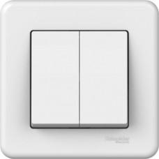 2-клавішний прохідний вимикач Schneider Electric Leona Білий (LNA0600321)