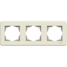 Рамка потрійна Schneider Electric Leona горизонтальна Слонова кістка (LNA5800323)