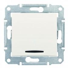 1-клавішний вимикач Schneider Electric Sedna із підсвічуванням Слонова кістка (SDN1400123)